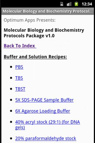 Mol Biol & Biochem Protocols - screenshot