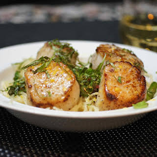 Scallops & Asparagus with Capelli d'angelo & Minneola Tangelo Butter Cream Sauce.