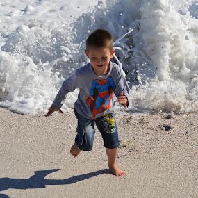 Running Ocean by Adriaan Vlok - Babies & Children Children Candids ( wave, sea, ocean, running, boy,  )