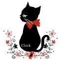 Pretty Black Cat Digital Clock logo