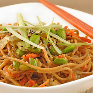 Sesame Noodles with Crisp Cabbage and Edamame.