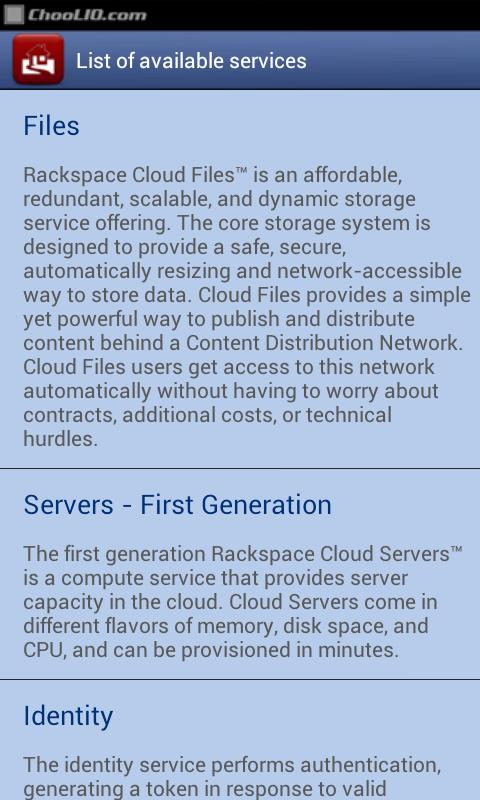 Manager for Rackspace LITE - screenshot