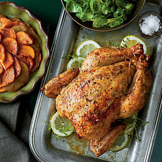 Roast Chicken with Sweet Potatoes and Apples.