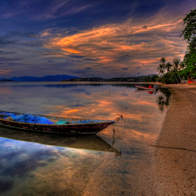 Boat and Clouds by Richard ten Brinke - Transportation Boats