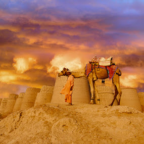 Waitting for a Calm ! by Agha Ahmed - Transportation Other ( calm, camel, desert, cloudy, castle, travel, fort, storm )