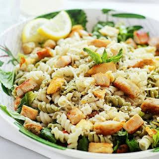 Chicken Caesar Pasta Salad with Light Caesar Dressing.