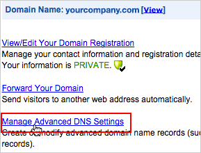 Manage Advanced DNS Settings link