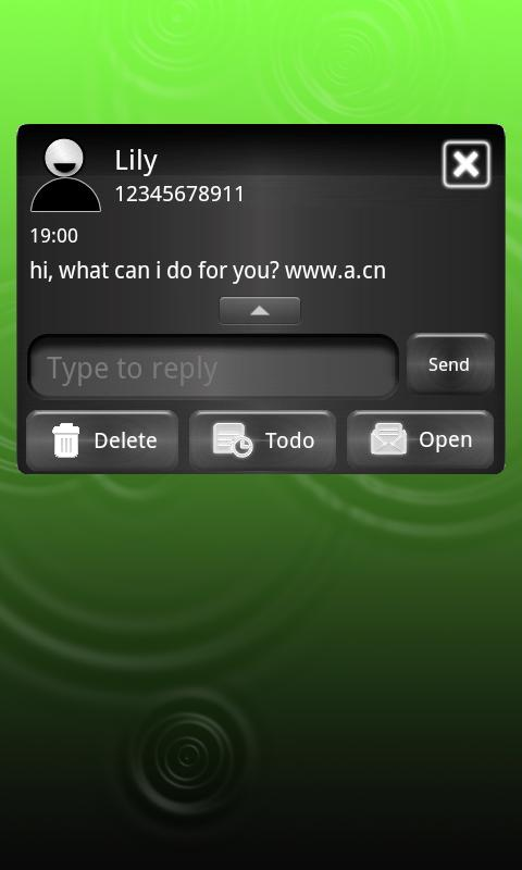 Metallic Green theme for GOSMS- screenshot