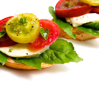 Heirloom Tomato, Fresh Mozzarella & Basil Crostini.