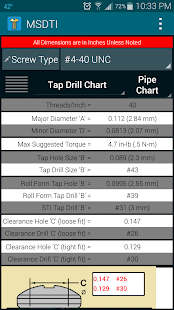 Machine Screws Drill/Tap Info- screenshot thumbnail