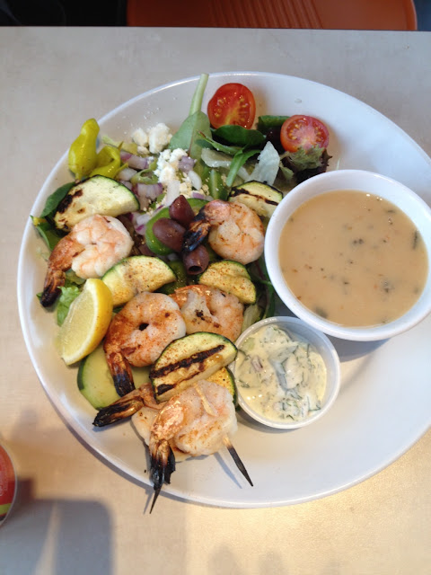 Shrimp kebabs with Greek salad and rosemary white beans