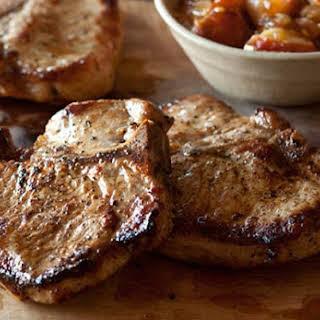 Maple-Brined Pork Chops with Pear Chutney.