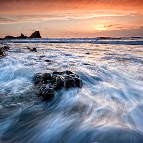 Hartland Quay by Ian Pinn - Landscapes Waterscapes ( sunset, devon, wave, tide, sea, long exposure, rocks )