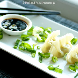 Chinese Pork Dumplings with Ginger Scallion Dipping Sauce