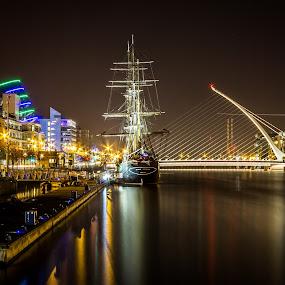 River Liffey  by Vaidotas Maneikis - Landscapes Travel ( ireland, dublin, samuel beckett bridge, long exposure, night, river, Urban, City, Lifestyle,  )