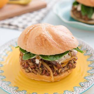 Freekeh Bean Burgers with Harissa Onions