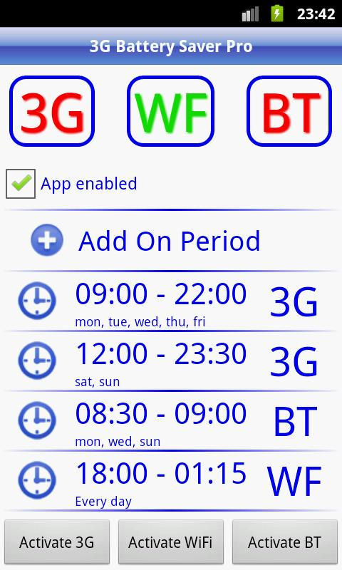 3G Battery Saver Pro + WiFi BT- screenshot