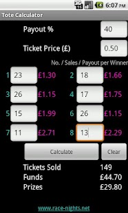 Race Night Tote Calculator- screenshot thumbnail