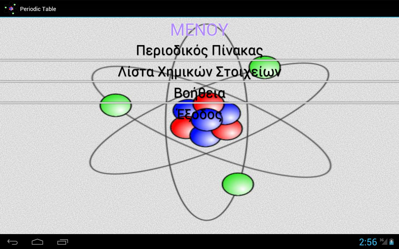 Περιοδικός Πίνακας - στιγμιότυπο οθόνης