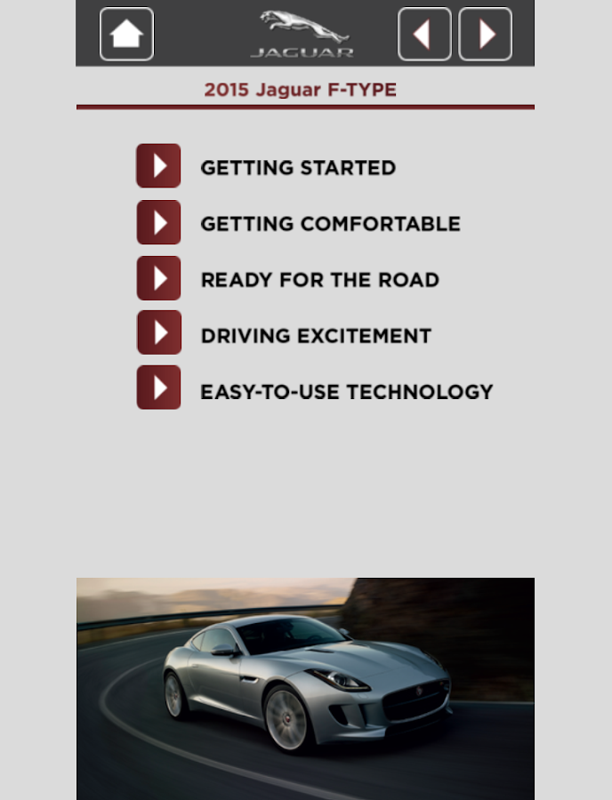 Jaguar Quick Start Guide App- screenshot