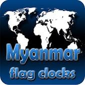 Myanmar flag clocks
