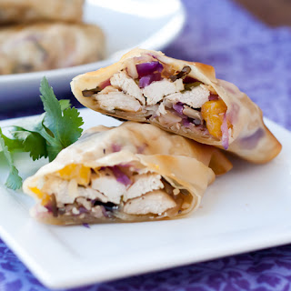 Chicken Egg Rolls with Red Cabbage, Mango & Lime.
