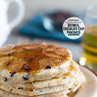Whole Wheat Oatmeal Chocolate Chip Pancakes.