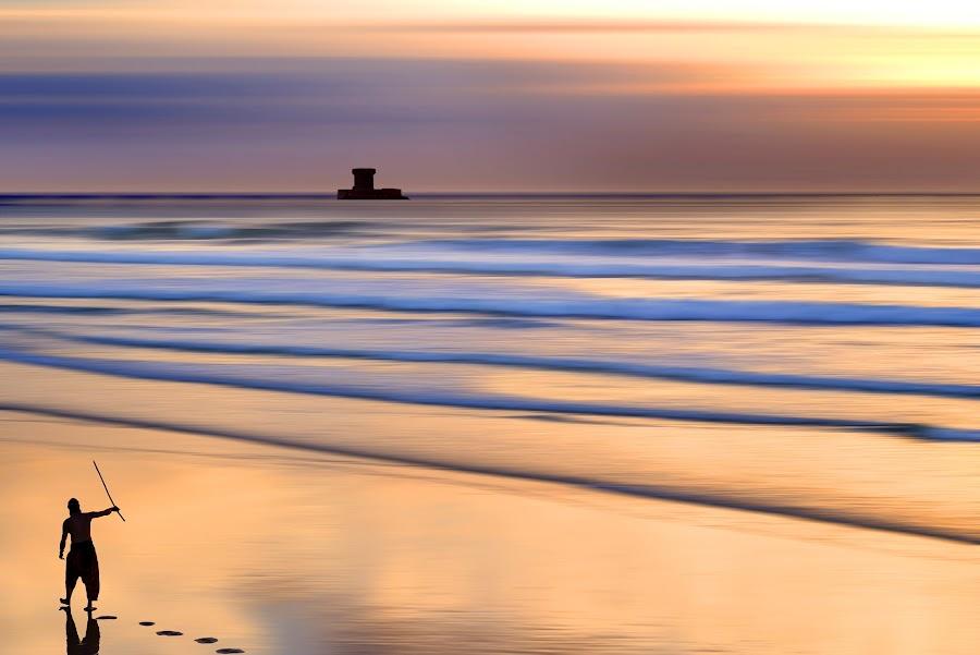 Rainbow's Island by Nick Venton - Landscapes Beaches ( tower, jersey, waves, sea, ocean, beach, rainbow )