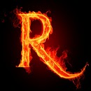 3D burning R code icon