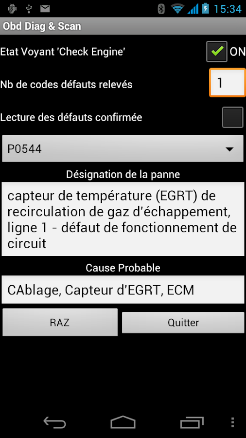 OBD Diag & Scan – Capture d'écran