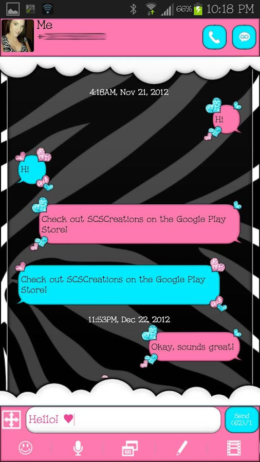 GO SMS THEME|LovingHearts - screenshot