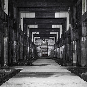 Filter Room by Chip Ormsby - Buildings & Architecture Decaying & Abandoned ( contrast, symmetrical, building, old, patterns, black and white, basement, symmetry, decaying, filter, water works, decay )