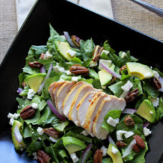 Chicken And Avocado Salad With Candied Pecans.