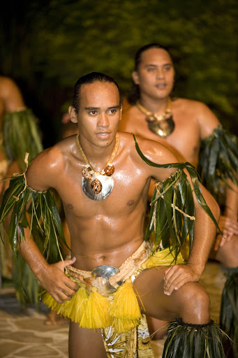 Tane dancers perform on Moorea, typically to the themes of warfare or sailing, and they often use spears or paddles.