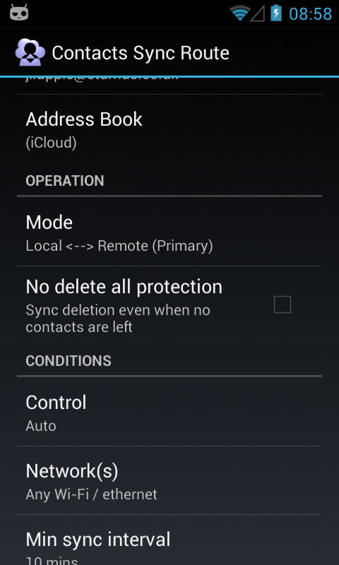 Contacts CardDAV Sync - screenshot