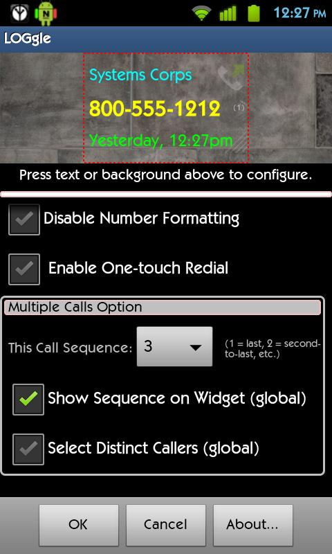 LOGgle Call Widget - screenshot