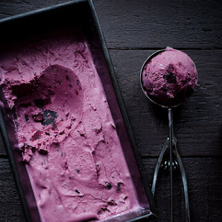 Roasted Blueberry Creme Fraiche Ice Cream