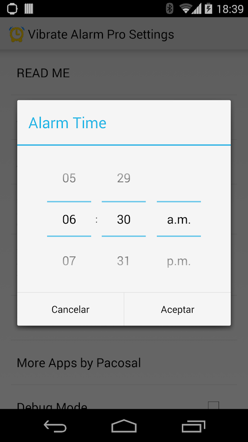 Vibrate Alarm Pro Smartwatch 2 - screenshot