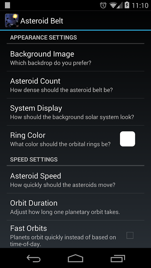 Asteroid Belt Live Wallpaper - screenshot