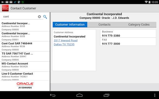 Contact Customer - JDE E1