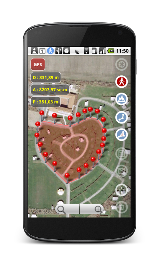 Planimeter - GPS area measure- screenshot