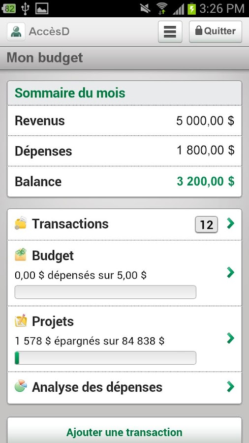 Desjardins mobile services - screenshot