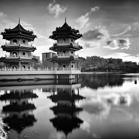 Nostalgia by Chester Chen - Black & White Buildings & Architecture ( water, reflection, pagoda, jurong, black and white, sunset, lake, singapore, chinese )