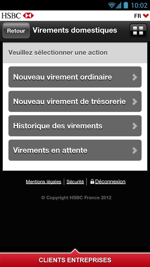 HSBC Entreprises - screenshot