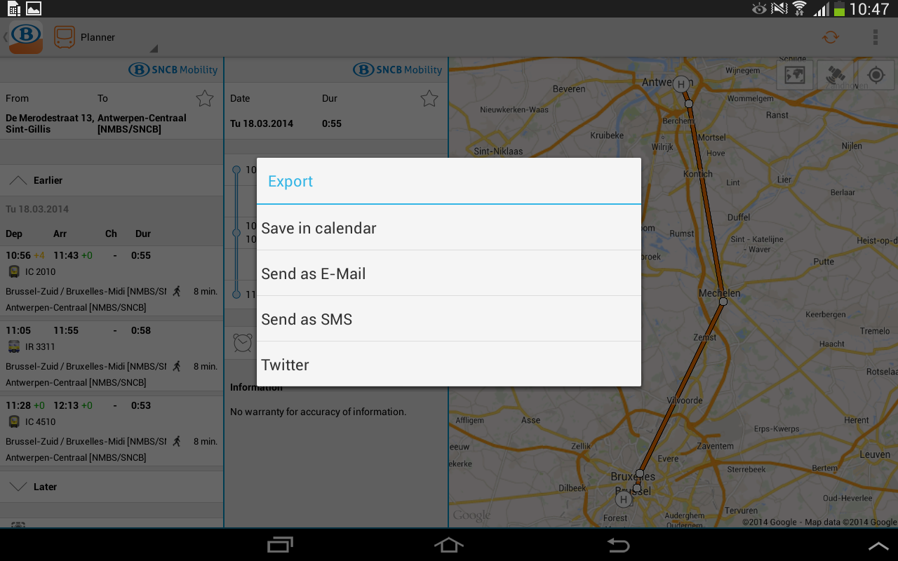 SNCB/NMBS - screenshot