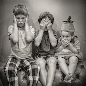 Three Wise Monkeys by Dan Horton-Szar ARPS - Black & White Portraits & People ( monochrome, black and white, family, boys, funny, three wise monkeys, children, portrait, brothers,  )