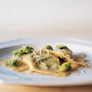 Ravioli Stuffed with Fava Beans, Ricotta, and Mint with Brown-Butter Sauce.