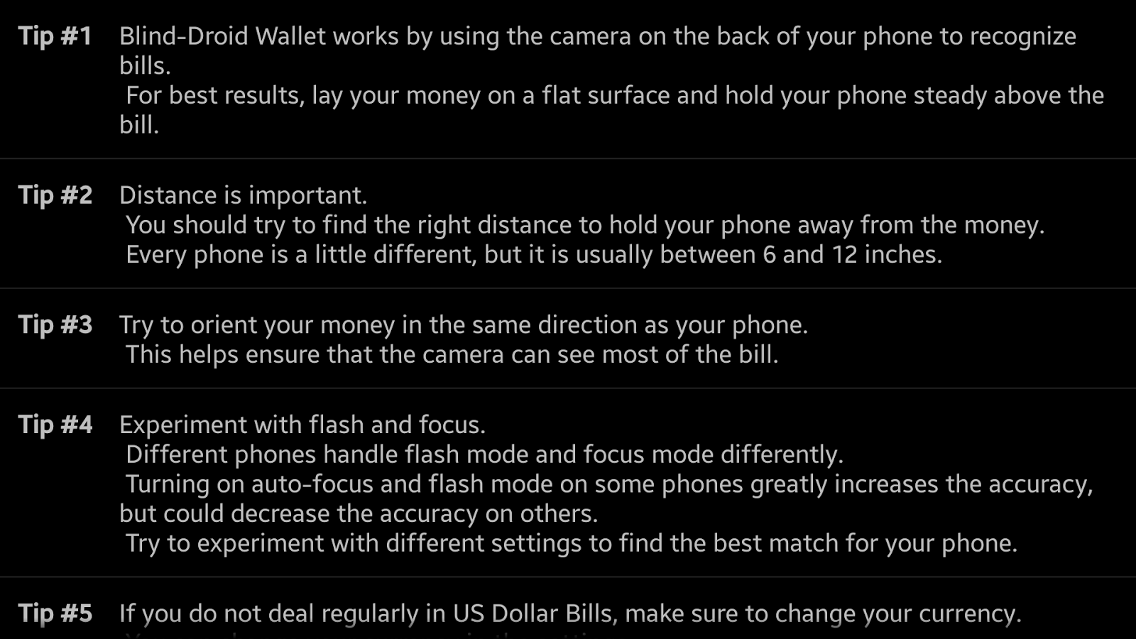 Blind-Droid Wallet: captura de tela