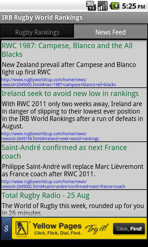 IRB Rugby World Rankings - screenshot