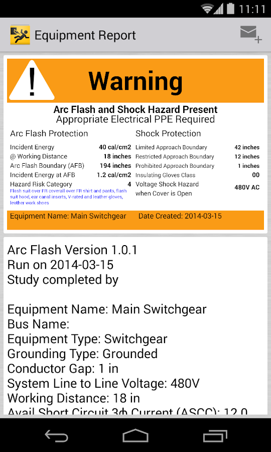 Arc Flash Calculator Labeling- screenshot